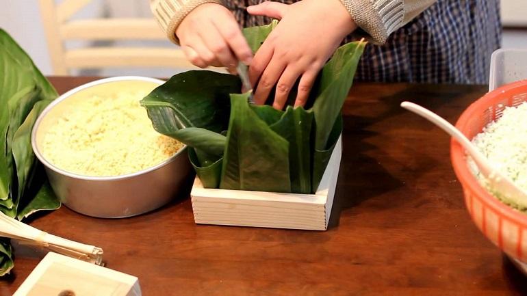 Hướng dẫn cách gói bánh chưng vuông – dài, bằng khuôn,lá chuối, lá dong